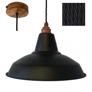 Industrial Pendant Set with Matt Black Shade and Rustic Rose