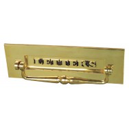 Letter box in classic style with clapper in brass finish.