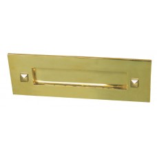 Letter box in traditional style without clapper in brass finish.