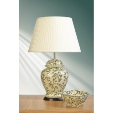 "Green Leaves Temple Jar Lamp shown with optional Ivory 14"" Cotton Fine Pleat Oval Shade"