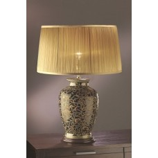 """Morris Gold/Black Lamp shown with optional Gold 18"""" Chiffon Shade"""