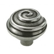 Swirl Genuine Pewter Cabinet Knob - 2 Part