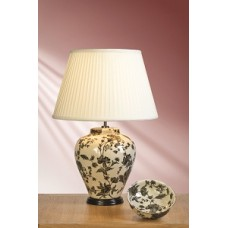 "Grey/Silver Peonies Lamp shown with optional Ivory 16"" Cotton Fine Pleat Shade"