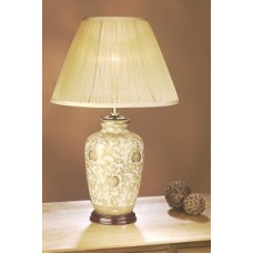 """Gold Thistle Lamp shown with optional Champagne 14"""" Chiffon Empire Shade"""