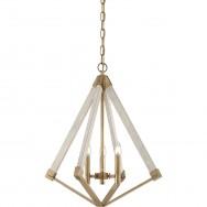 3lt Weathered Brass Pendant Chandelier