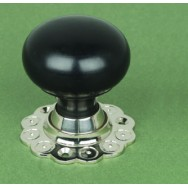 Ebony Door Knob Edwardian Bun Nickel