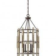 4lt Rustic Wood Hollow Chandelier