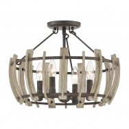 Semi Flush 4lt Rustic Wood Hollow Pendant