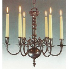 6 Lt Chandelier (candle fitting shown), Albert Bartram