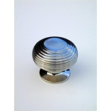 Large beehive cupboard knob in polished nickel.
