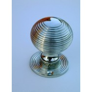 Beehive polished nickel door/rim knob 49mm