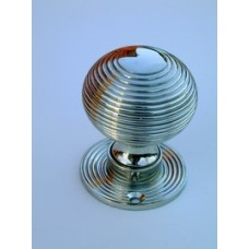 Beehive polished nickel door/rim knob 63mm