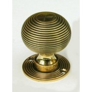 Beehive aged brass door/rim knob 49mm