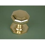 Octagonal large brass door pull
