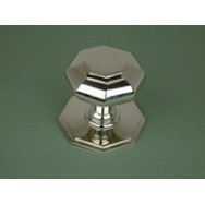 Polished nickel plated cast brass octagonal door knob.