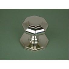 Polished nickel plated cast brass octagonal door knob.