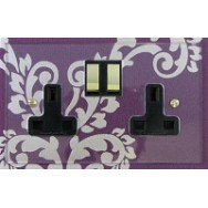 Double 13A Switched Socket, Profile Clear Acrylic