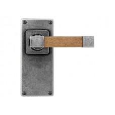 Pewter & Oak Lever Handle on Jesmond Latch Backplate