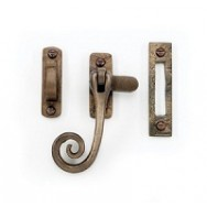 Casement fastener with mortice plate in smooth style - curled