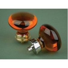 Bohemian crystal glass cupboard knob in amber glass with nickel fittings - large.