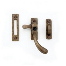 Casement fastener with hook plate - lockable, swept
