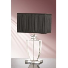 Liona Clear Crystal Trophy Lamp shown with optional Black 36cm Chiffon Rectangular Shade LS1005