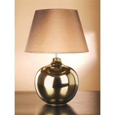 """Ottoman Bronze Metallic Lamp shown with optional Brown 20"""" Empire Shade With Gold Card Lining LS1020"""