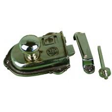 Cromwell, rim latch in Nickel plated brass