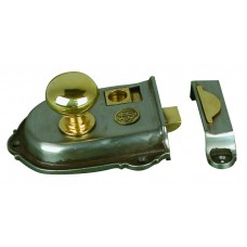 Cromwell, rim latch in cast iron with brass fittings