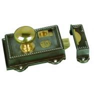 Regency, rim latch in cast iron with brass fittings