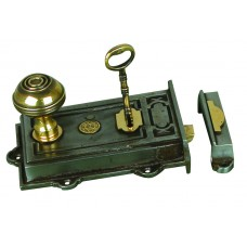 Davenport, Single lever rimlock in cast iron with brass fittings